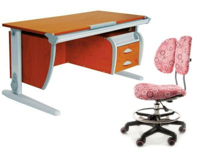 Комплект ДЭМИ Парта СУТ-15-03 120х55 см с креслом Simba и прозрачной накладкой на парту 65х45
