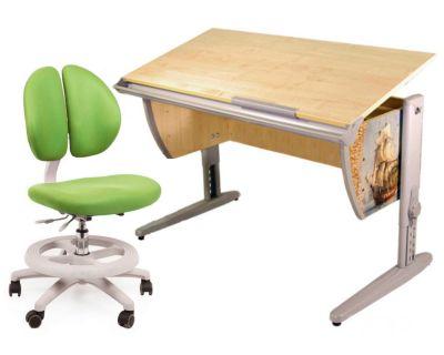 Комплект ДЭМИ Парта СУТ-15P 120х55 см с рисунком с креслом Duo Kid mini и прозрачной накладкой на парту 65х45