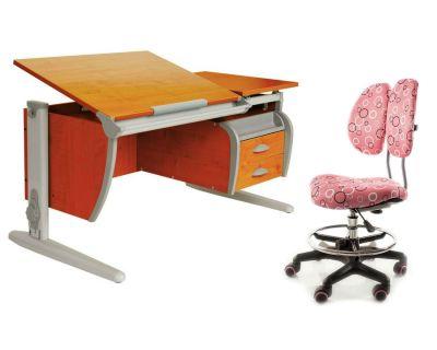 Комплект ДЭМИ Парта СУТ-17-04 120х80 см с креслом Simba и прозрачной накладкой на парту 65х45