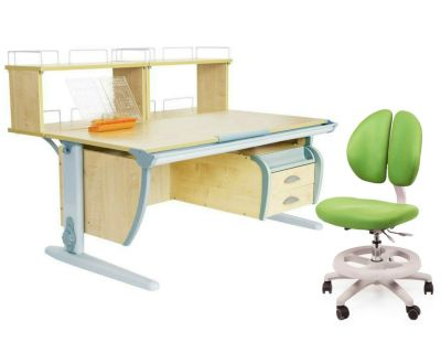 Комплект ДЭМИ Парта СУТ 15-04Д2 с креслом Duo Kid mini и прозрачной накладкой на парту 65х45