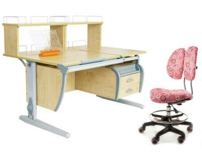 Комплект ДЭМИ Парта СУТ 17-04Д2 с креслом Simba и прозрачной накладкой на парту 65х45