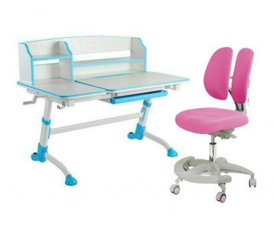 Комплект FunDesk Парта-трансформер Amare II с креслом Primo и прозрачной накладкой на парту 65х45