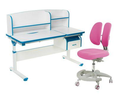 Комплект FunDesk Парта-трансформер Creare с креслом Primo и прозрачной накладкой на парту 65х45