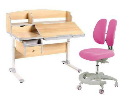 Комплект FunDesk Парта-трансформер Sognare с креслом Primo и прозрачной накладкой на парту 65х45