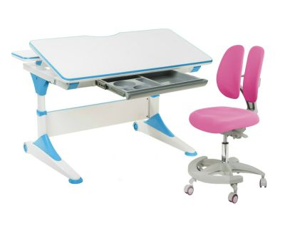 Комплект FunDesk Парта-трансформер Trovare с креслом Primo и прозрачной накладкой на парту 65х45