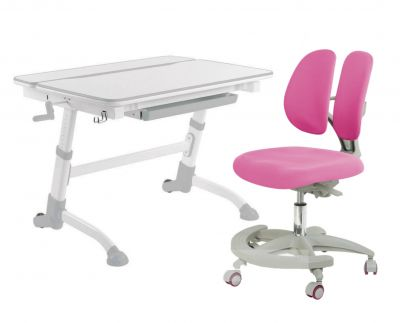 Комплект FunDesk Парта-трансформер Volare с креслом Primo и прозрачной накладкой на парту 65х45