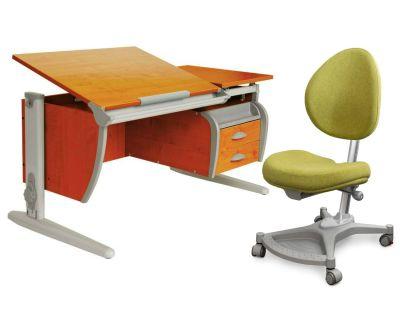 Комплект ДЭМИ Парта СУТ-17-04 120х80 см с креслом Neapol и прозрачной накладкой на парту 65х45