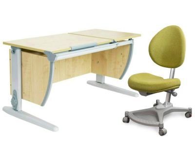 Комплект ДЭМИ Парта СУТ-17 120Х55 см с раздельной столешницей с креслом Neapol и прозрачной накладкой на парту 65х45