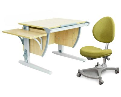 Комплект ДЭМИ Парта СУТ 14К с креслом Neapol и прозрачной накладкой на парту 65х45