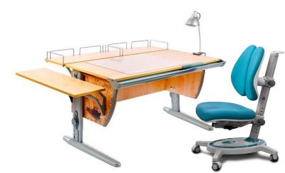 Комплект ДЭМИ Парта СУТ-15-02Р 120х55 см с рисунком с креслом Stanford Duo и прозрачной накладкой на парту 65х45