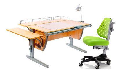 Комплект ДЭМИ Парта СУТ-15-02Р 120х55 см с рисунком с креслом Conan и прозрачной накладкой на парту 65х45