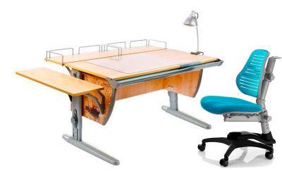 Комплект ДЭМИ Парта СУТ-15-02Р 120х55 см с рисунком с креслом Oxford C3 и прозрачной накладкой на парту 65х45