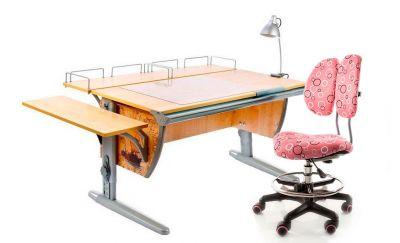 Комплект ДЭМИ Парта СУТ-15-02Р 120х55 см с рисунком с креслом Simba и прозрачной накладкой на парту 65х45