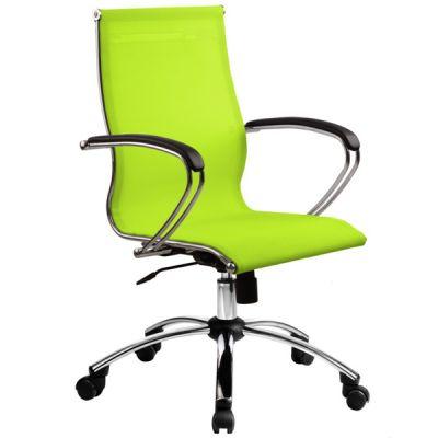 Фото - Офисное кресло Metta SkyLine S-2 Ткань и эко-кожа Лайм Серебро имидж мастер парикмахерское кресло версаль гидравлика пятилучье хром 49 цветов небесный 4