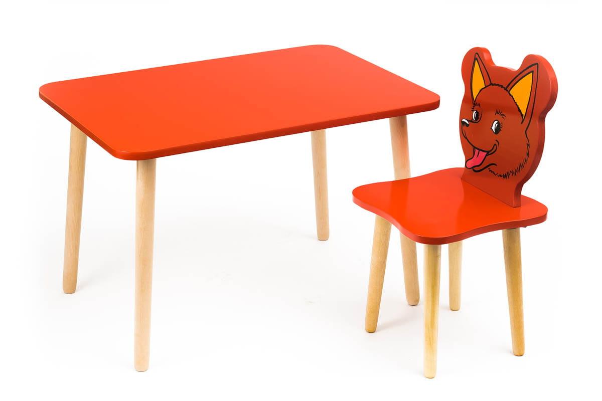 Комплект детской мебели Джери с красным столиком комплект детской мебели мордочки с коричневым столиком