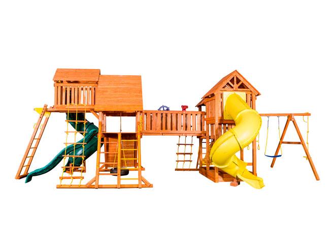 PlayGarden Игровая площадка Mega SkyFort с двумя игровыми домиками и переходом