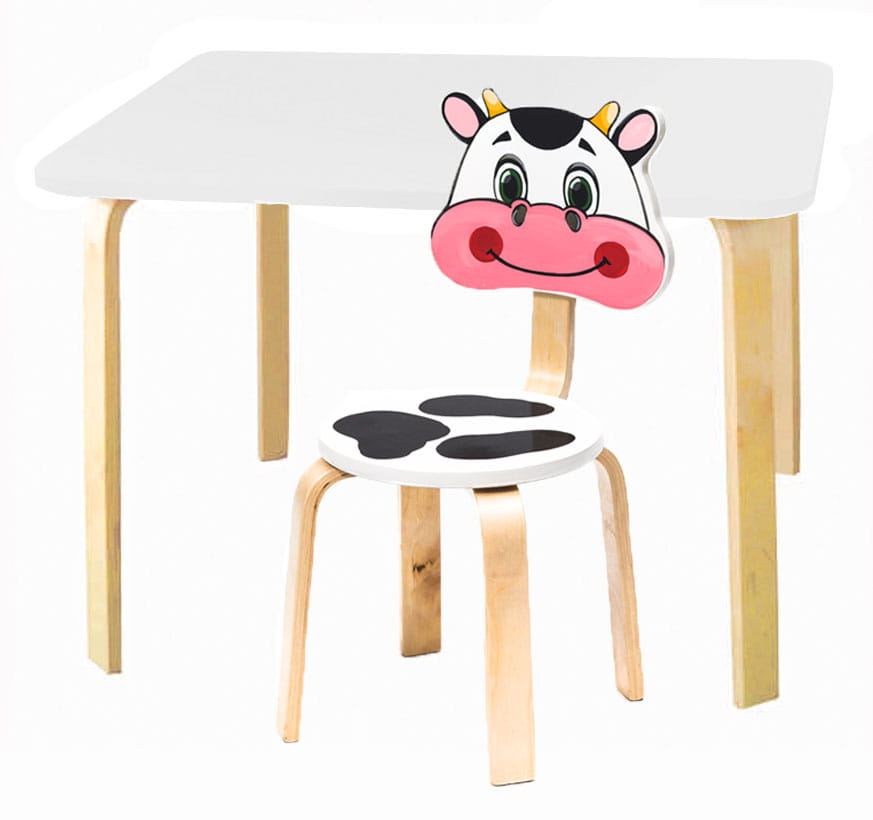 Комплект детской мебели Мордочки с белым столиком комплект детской мебели мордочки с коричневым столиком