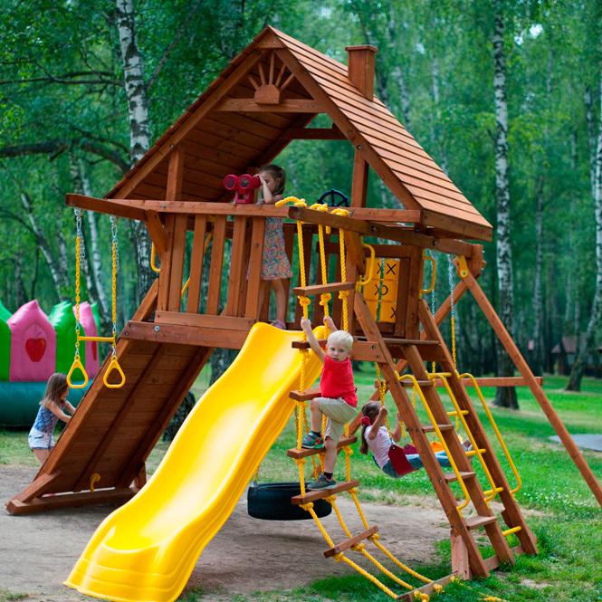 New Sunrise Детский дачный комплекс Новый рассвет Зарница с деревянной крышей вертикаль дачный с канатом