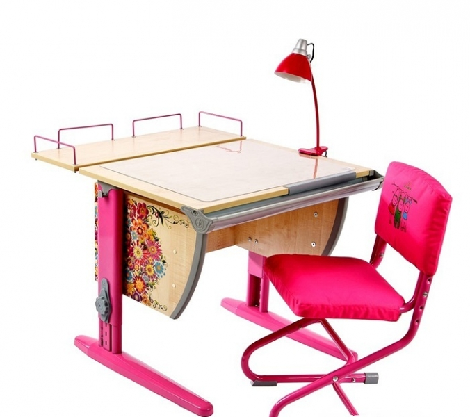 Домашняя парта Дэми СУТ-14-01P с рисунком + задняя приставка ЛДСП Клен Розовый