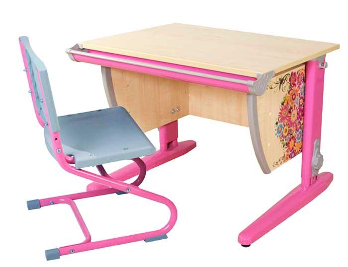 Домашняя парта Дэми СУТ-14Р с рисунком ЛДСП Клен Розовый школьные парты дэми стол универсальный трансформируемый сут 17 столешница клен