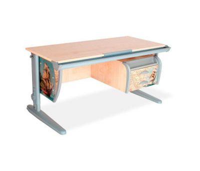 Комплект ДЭМИ Парта СУТ-15-03P 120х55 см с рисунком с креслом Cambridge Duo и прозрачной накладкой на парту 65х45