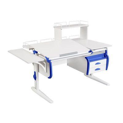 Комплект ДЭМИ Парта СУТ-25-05Д WHITE DOUBLE с креслом Stanford Duo и прозрачной накладкой на парту 65х45