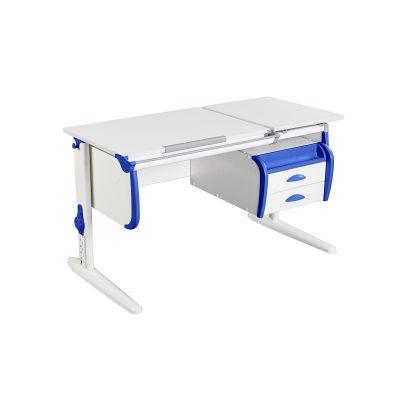 Комплект ДЭМИ Парта СУТ-25-03 WHITE DOUBLE с креслом Nobel и прозрачной накладкой на парту 65х45