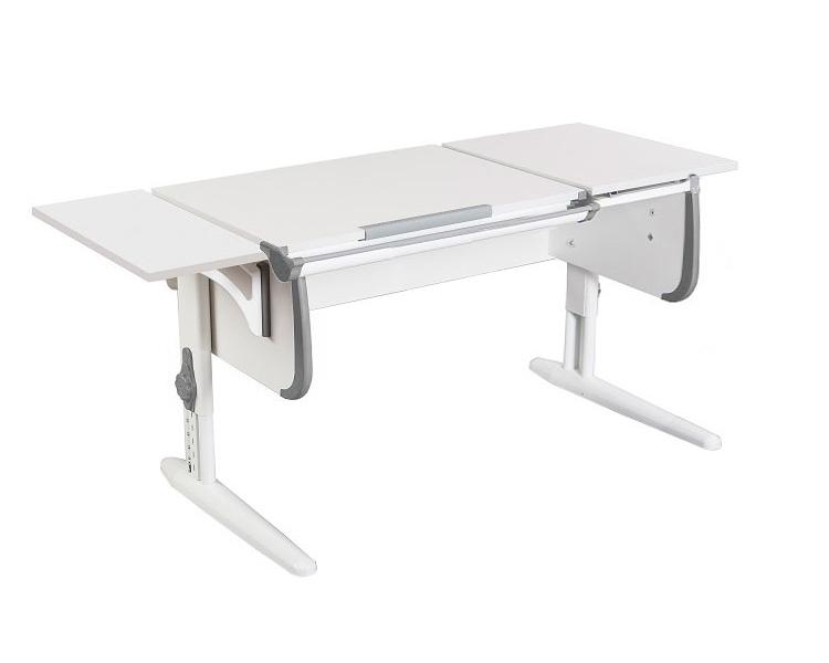 Стол для школьника Дэми СУТ-25-01 К WHITE DOUBLE с раздельной столешницей и боковой приставкой ЛДСП Белый Серый Белый в комплекте Боковая полка
