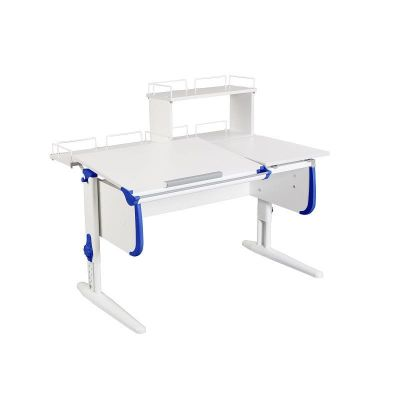 Комплект ДЭМИ Парта СУТ-25-01Д WHITE DOUBLE с раздельной столешницей с креслом Simba и прозрачной накладкой на парту 65х45