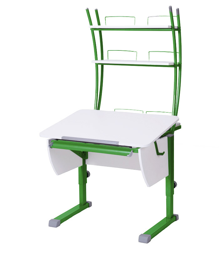 Парта Астек КОЛИБРИ с надстройкой Белый Зеленый