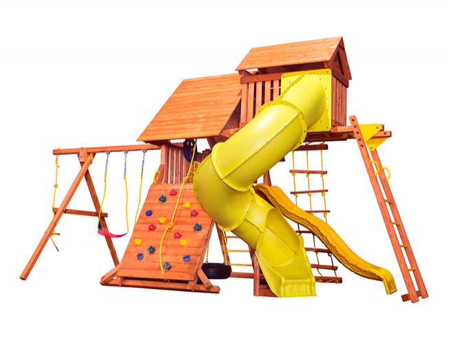 Детская игровая площадка PlayGarden Original Castle Turbo с двумя горками и пентхаусом Массив дерева Массив Кипариса playgarden игровая площадка original castle с пентхаусом