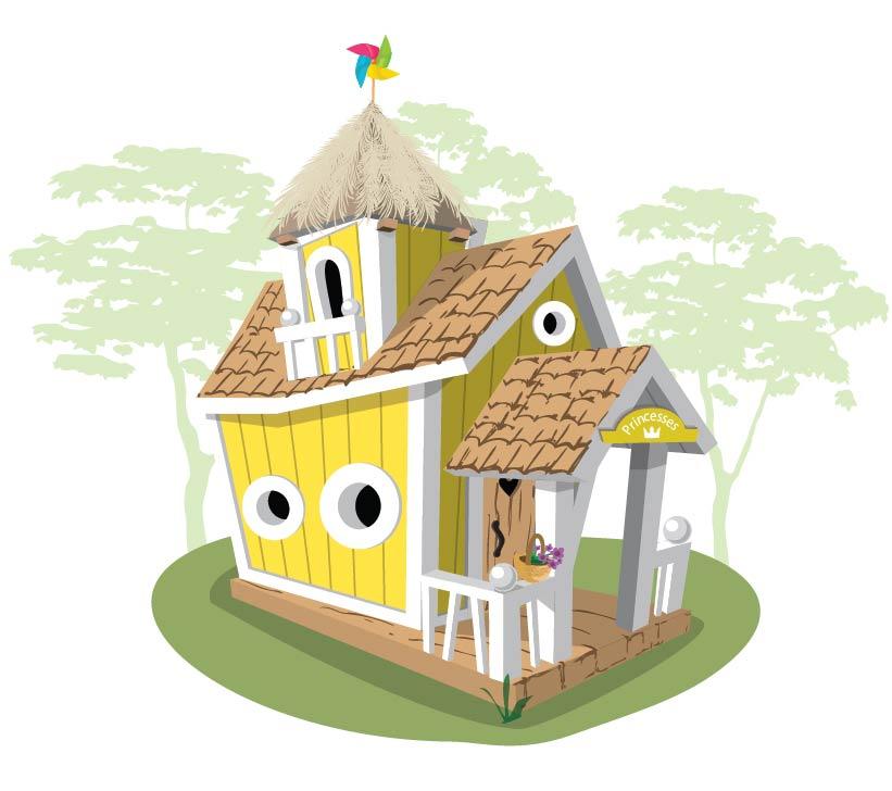 Детский игровой домик из дерева Crooked Двухэтажный домик Массив дерева игровой домик calida автомобиль 130х55х80 см и 100 шаров li 653