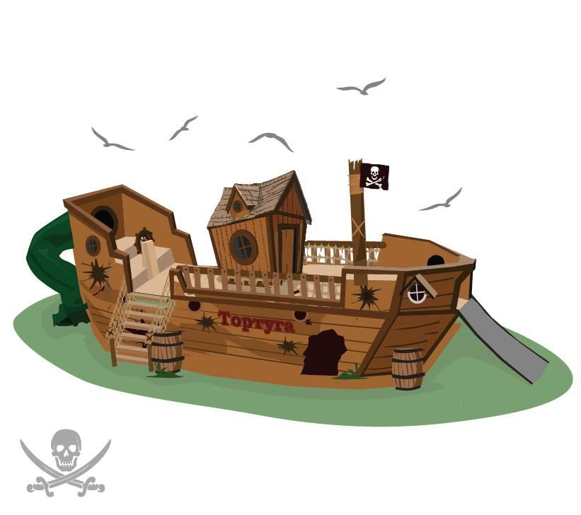 Детская игровая площадка Crooked Корабль «Тортуга» Массив дерева