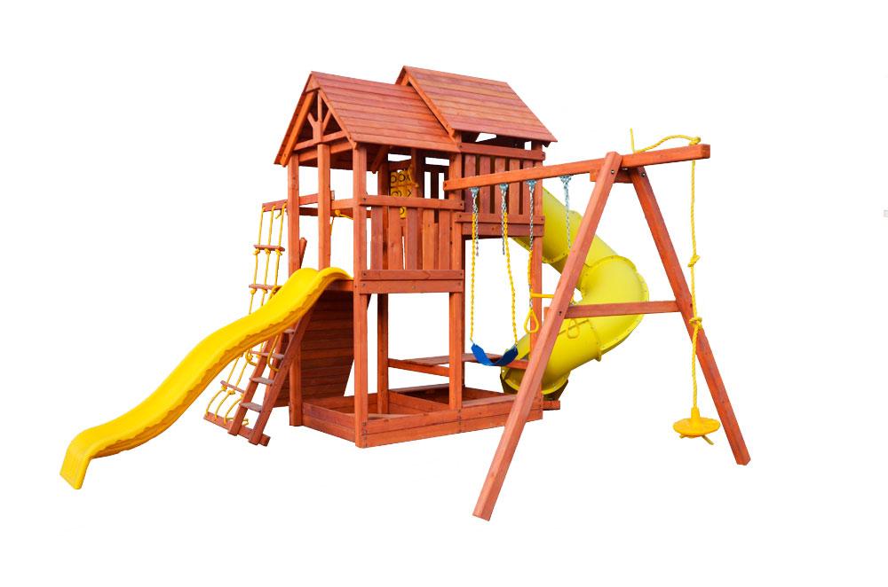 Игровая площадка PlayGarden SkyFort Deluxe с двухволновой горкой и горкой трубой игровая площадка playgarden green hill