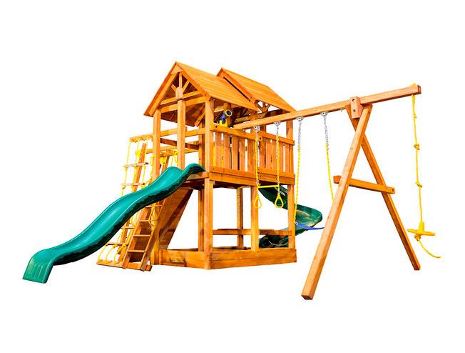 Фото - Детская игровая площадка PlayGarden SkyFort II Spiral со спиральной горкой и рукоходом Массив дерева Массив Кипариса телескоп