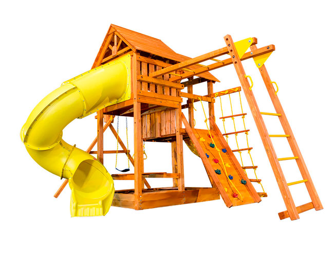 Фото - Детская игровая площадка PlayGarden SkyFort Deluxe II с двухволновой горкой, горкой-трубой и рукоходом Массив дерева Массив Кипариса телескоп