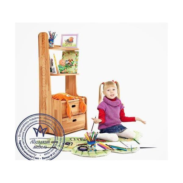 Стеллаж Абсолют-мебель Стеллаж к партам Школярик Буковка стеллаж дэми стеллаж закрытый с тумбой 3 ящика и рисунком