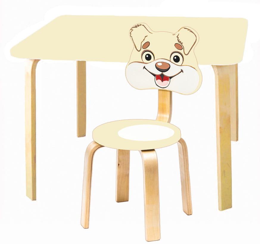 Комплект детской мебели Мордочки с ванильным столиком комплект детской мебели мордочки с коричневым столиком