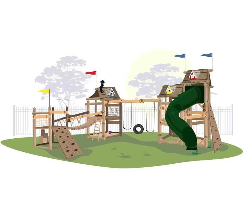 Игровой комплекс для детей «Тропический угловой» комплекс для кошек угловой с полками лестницей и канатом beeztees 405770