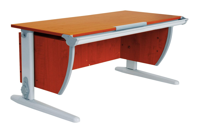 Стол для школьника Дэми СУТ-15-01 + 2 задние приставки ЛДСП Яблоня Серый