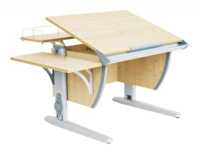 Комплект ДЭМИ Парта СУТ-14-02 75х55 см с задней и боковой приставкой с креслом Stanford Duo и прозрачной накладкой на парту 65х45