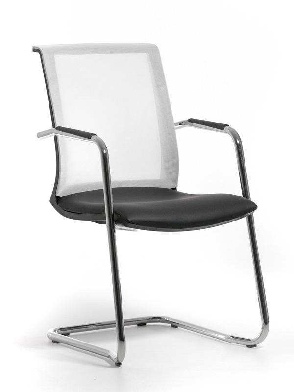 Офисное кресло Profoffice Skin Сетка / кожа Белый/Черный Хром Сетка - кожа Полозья офисное кресло profoffice urban mesh пластик ткань черный хром сетка кожа 4 опоры