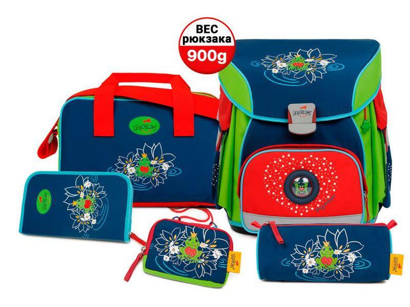 Школьный ранец X-Light Влюбленная лягушка, спортивная сумка, два пенала и кошелек