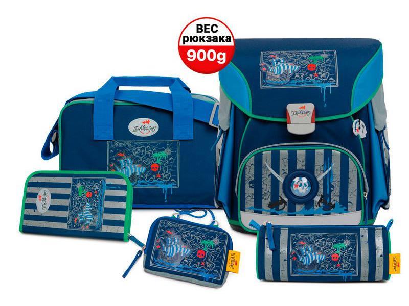 Школьный ранец X-Light Пиратский корабль, спортивная сумка, два пенала и кошелек