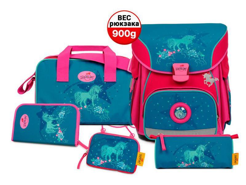 Школьный ранец X-Light Сияющий единорог, спортивная сумка, два пенала и кошелек