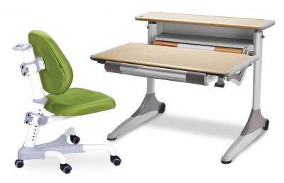 Комплект Mealux Стол Grand с компьютерным креслом Champion и прозрачной накладкой на парту 65х45