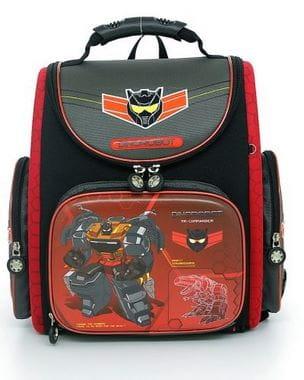 Черный ранец Hummingbird Dinorobot для мальчика (K41)