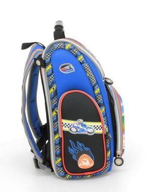 Черный ранец Hummingbird Motomaster для мальчика (K64)