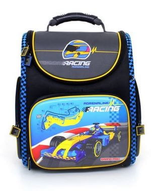 Темно-синий ранец Hummingbird Racing для мальчика (K93)