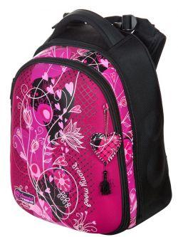 Ранец Hummingbird Teen красный с цветочным узором для девочки (T95)